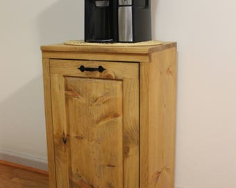 Wooden Tilt out Trash Can Trash Bin - Dog food storage - Cabinet to hide Trash - Kitchen Garbage - Tip out trash can - Pet food Laundry Room