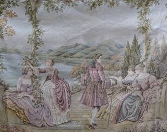 Italian tapestry upholstery fabric Lake Como machine woven tapestry 18th century landscape of modern tapestry fabric
