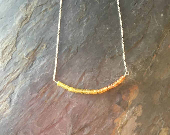 Yellow and Orange Sapphire Bar Necklace in Sterling Silver Gift Genuine Handmade Stunning Birthstone September