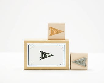 Yippee Banner Rubber Stamp