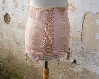 Vintage 1950s French burlesque  girdle lingerie corset pin up