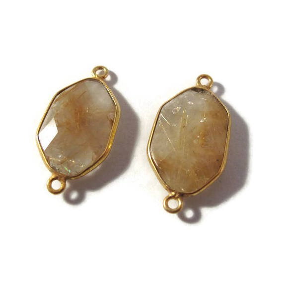 Two Golden Rutile Quartz Charms, 2 Matching Shimmering Natural Gemstone Pendants, Gold & Clear, Jewelry Supplies (C-Ru5c)