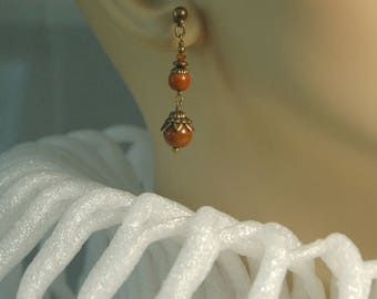 Burntsienna Czech glass beads, Swarovski crystal and solid brass beaded earrings for pierced ears