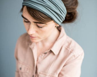 Slate Blue Long Stretch Convertible Cowl Garlands of Grace ||  headcovering hair scarf headwrap Headband