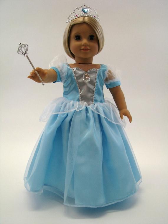 Light Blue, Princess Dress, Wand & Heart Tiara Set - 18 Inch Doll Clothes