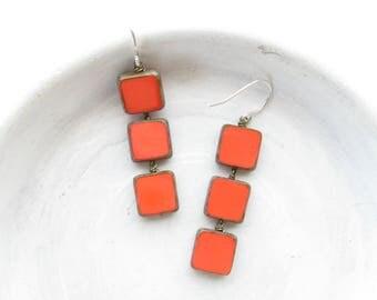 Coral Earrings / Colorful Earrings / Beaded Earrings / Dangle Earrings / Statement Earrings / Geometric Earrings / Square Earrings / Gift