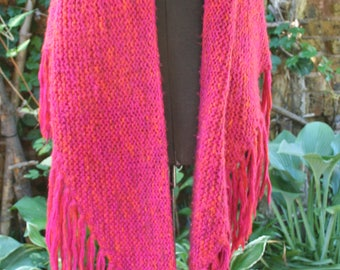 Bright pink knit shawl fringe hippie