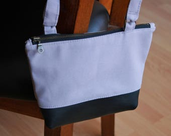 Gray Crossbody Bag with Black Leather