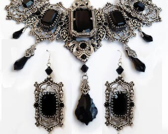Bridal Gothic Jewelry Set Choker Earrings Bracelet Black Swarovski Jewelry Set Crystal Necklace Silver Halloween Wedding Victorian Jewelry