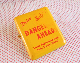 Vintage Bright Yellow Safety Engineering Department Danger Ahead Advertising Clip