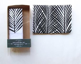 Black and White Leaf Tea Towel Set of 2 - Boho Beach Decor - Beach Decor - Coastal Living - Palm Tree Print - Beach Dish Towel