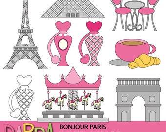 Paris clipart - Bonjour Paris clip art - France monuments, eiffel tower, louvre, Arc de Triomphe, cafe, parfume printable clipart, pink gray