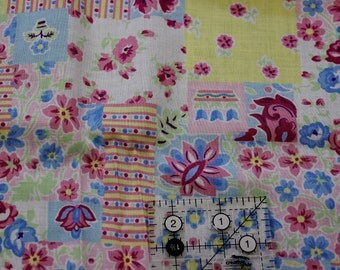 "Floral Patchwork soft pinks greens yellow blue 100% cotton fabric  42""-45"" wide"