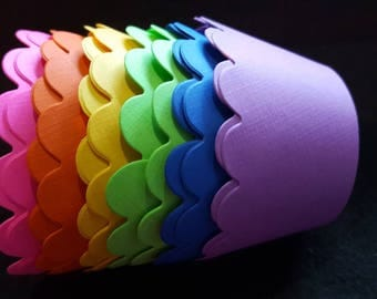 SALE Solid Linen Texture Rainbow Cupcake Wrappers (12) Limited Quantities