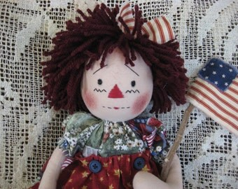 Primitive Patriotic Raggedy Ann Americana Annie