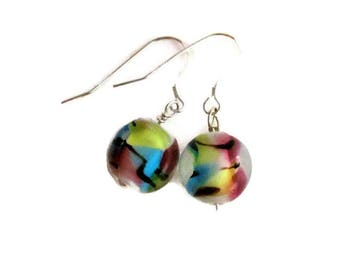 Glass Earrings Etsy, Dangle Earrings, Art Glass Earrings, Foil Glass Earrings, Glass Jewelry, Pink Earrings, Turquoise Earrings, Pastel