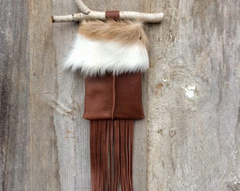 Leather Wall Pocket - Axis Deer Hide - Stocking - Leather Fringe - Rustic Home - Cabin - Ranch - Year Round Decoration - Stacy Leigh Leather