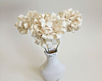 modern, urban fluffy fabric scrap, looped, muslin ruffle flowers faux fake contemporary shabby fabric bouquet, stitched sewn flowers