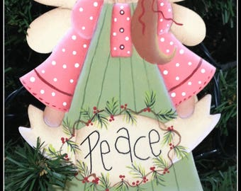 Peace Angel Wood Painted Christmas Tree Ornament-Gift Tag-Home Decor Decoration