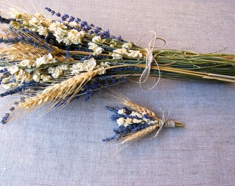 Dried Flower Wedding Bouquet and Boutonniere Brides, Bridesmaids of French English Lavender Ivory Larkspur and Wheat