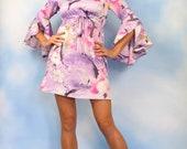 Vintage 60s 70s Cherry Blossom Empire Waist Flutter Sleeve Mini Dress (size small, medium)