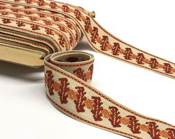 "Vintage Trim by the Yard - Upholstery Trim - Orange Border Trim - Woven Trim - French Passementerie Trim - 50mm / 2"" wide"