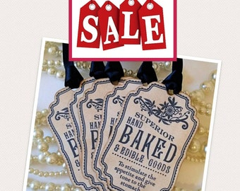 Baked Good Tags, Blue Wedding Favors, Navy Wedding, Food Labels, Wedding Favor Tags, Party Tags, Homemade Cake Label, SET of 5, Code B10