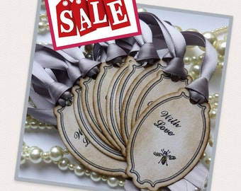 Wedding Favor Tags, Bee Tags, Bee Wedding Favors, Silver Wedding Favors, Party Favor Tags, Vintage Gift Tags, Sale Tags