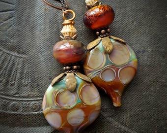 Lampwork Headpins, Lampwork Glass, Artisan Made,  Czech Glass, Vintage Jewlery, Flowers, Earthy, Organic, Rustic, Beaded Earring
