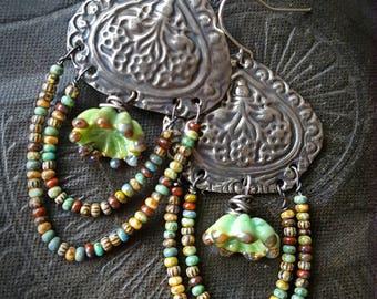 Fringe, Glass, Kuchi, Banjara, Stampings, Brass, Lamp work Glass, Old World Beads, Loop, Hoop, Beaded, Flower, Beaded Earrings