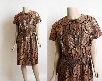 Vintage 1960s Dress - Golden Copper Metallic Cocktail Dress - Asian Novelty Print - Medallion - Japanese Cherry Blossom - Medium Large