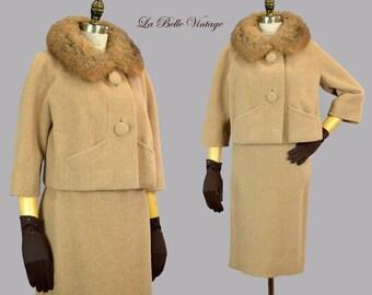 Robert Knox Tan Wool Suit S M Vintage 60s Jacket Pencil Skirt Set ~ Fur Collar ~ Montaldo's