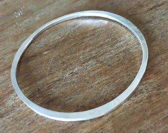 Sterling Silver Hand Forged Hammered Bangle Bracelet