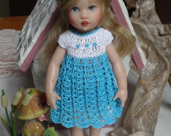Crochet 5 piece outfit Helen Kish Riley Doll 7 8 inch Dress Empire Hat Bottoms Shoes White Turquoise