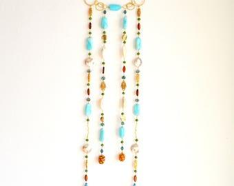 Gold Gemstone Wall Hanging/Wall Art / Dream Catcher/Small Beaded Curtain/Boheimian Wall Art/Gemstone Art Work/Peruvian Opals Gemstone