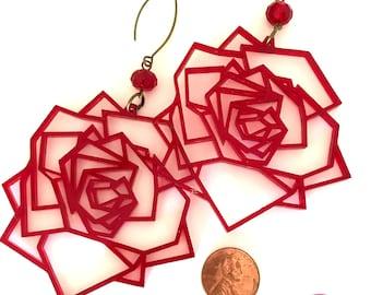 GEOMETRIC ROSES - Laser Cut Acrylic Earrings - Transparent Red