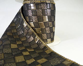 """Gold And Black Lame Patterned Check Wired Ribbon  4"""" Wide"""
