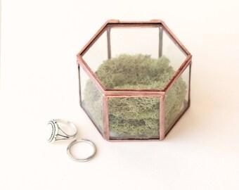 Hinged glass box, Moss ring bearer, Clear ring box, Rose gold cut glass, Hinged engagement ring box, Woodland wedding ring bearer