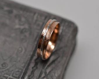 Narrow textured fingerprint minimalist spinner ring copper, argentium silver, gold filled, bronze