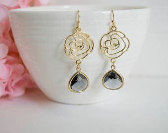Gold Rose Filigree Dropping With Grey Ash Teardrop Glass Flower Dangle Earrings. For Her Bridal Bridesmaid Wedding Jewellery