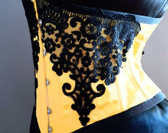 Electric yellow hand crafted satin steel boned underbust corset perfect for burning man