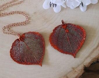 Copper Aspen Leaf Necklace, Real Leaf Necklace, Aspen Leaf, Rose Gold, Leaf Pendant LC179