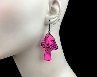 READY MADE SALE - Spotted Mushroom Earrings - Neon Hot Pink Acrylic Laser Cut Earrings - Mushroom Jewelry