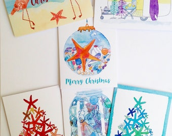 Australian Christmas Cards - 6 pack, you choose - summer beach starfish christmas tree - A6 watercolour print