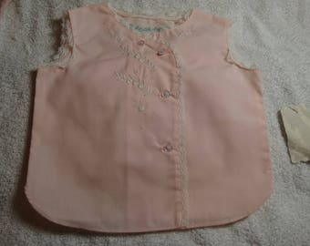 Vintage A Little Angel Baby Clothes Top, Pretty in Pink, 3 months Cotton Top, Flowers w/lace A Little Angel Original with tags, never worn
