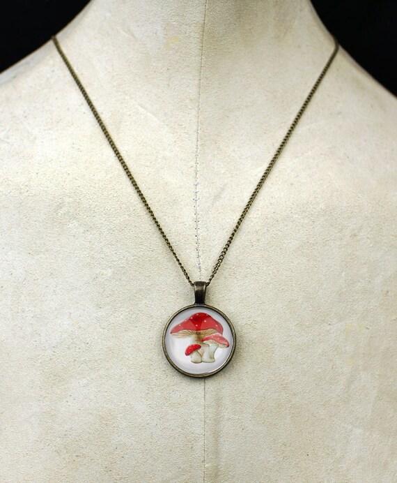 Mushrooms pendant necklace magic mushroom necklace a boho love peace tripper meditation rave necklace