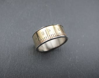 One meter ring- Recycled brass ruler and sterling silver ring - Ruler Ring - Size 8.5 -  Unisex Ring