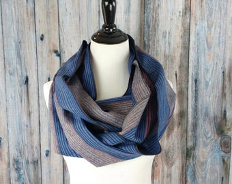 Infinity Scarf - Christmas Gifts - Christmas Gifts for Her - Striped Scarf - Scarf -Flannel - Blue Scarf - Gift for Her - Scarves
