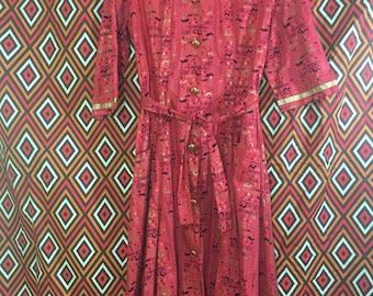 Vintage petroglyph print dress robe shirtdress size 12 L Large