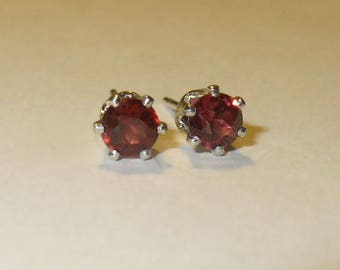 Red Garnet Stud Earrings in Solid Sterling Silver Settings - Genuine, Natural, Untreated Mined from Earth Gemstones